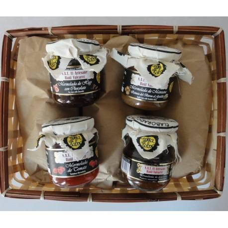 Cesta regalo de mermeladas artesanas del Bierzo