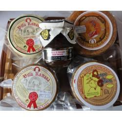 Cesta Regalo mermelada y quesos artesanos Lácteas Villa Romana
